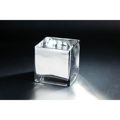 """7"""" Silver Colored Square Hand Blown Glass Votive Candle Holder - IMAGE 1"""