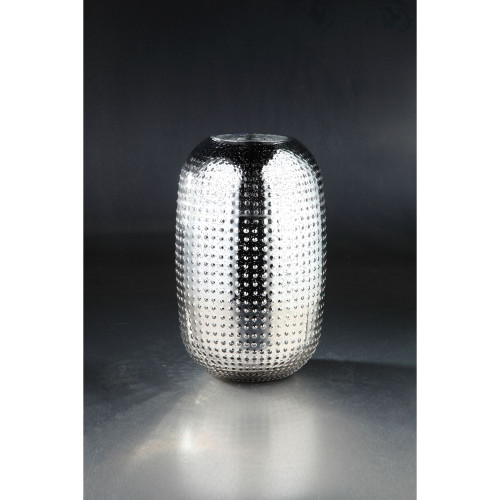 """13.5"""" Silver Colored Textured Metallic Bumpy Glass Oval Vase - IMAGE 1"""
