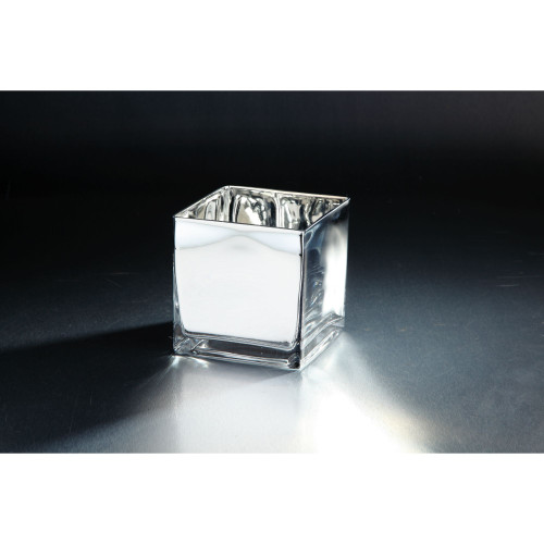 """6"""" Silver Colored Square Hand Blown Glass Votive Candle Holder - IMAGE 1"""
