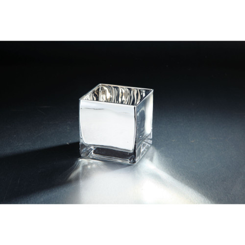 """4.5"""" Silver Colored Hand Blown Glass Tea Light Candle Holder - IMAGE 1"""