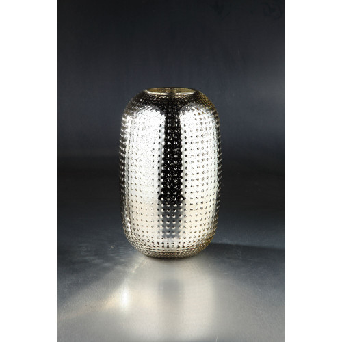 """13.5"""" Gold Colored Textured Metallic Bumpy Glass Oval Vase - IMAGE 1"""