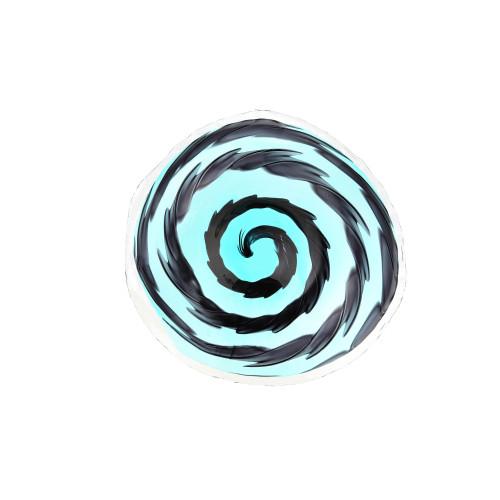"""22"""" Blue and Black Spiral Design Handblown Round Glass Plate - IMAGE 1"""