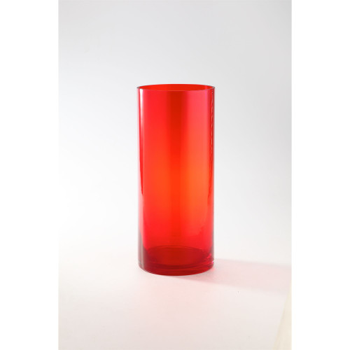 "14"" Red Transparent Cylinder Glass Vase Tabletop Decor - IMAGE 1"