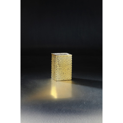 """6"""" Golden Colored Diamond Pattern Handblown Glass Candle Holder - IMAGE 1"""