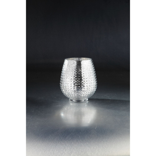 """8"""" Silver Colored Textured Metallic Bumpy Glass Vase - IMAGE 1"""