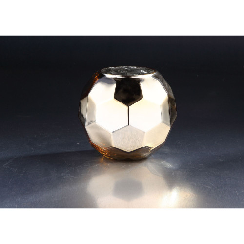 "7"" Silver and Golden Colored Hexagon Hand Blown Glass Vase - IMAGE 1"