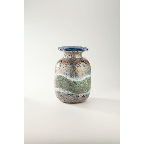 """11.5"""" Copper and Blue Rustic Green Striped Hand Blown Glass Vase - IMAGE 1"""