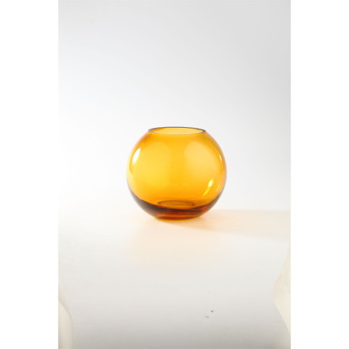 "8"" Amber Transparent Round Glass Vase Tabletop Decor - IMAGE 1"