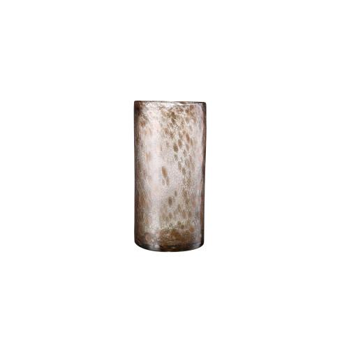 "13"" Brown Leopard Print Hurricane Hand Blown Glass Vase - IMAGE 1"