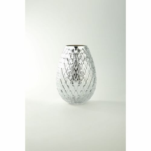 "10"" Metallic Silver Bumpy Round Glass Vase - IMAGE 1"