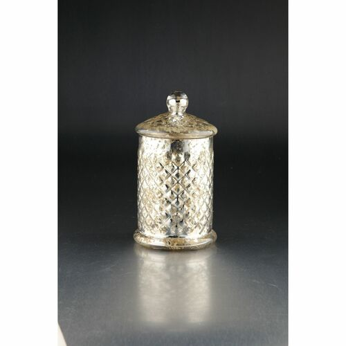 """9.5"""" Silver Textured Kitchen Canisters with Lid - IMAGE 1"""
