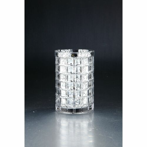 """7.5"""" Silver Colored Hand Blown Glass Block Vase Tabletop Decor - IMAGE 1"""