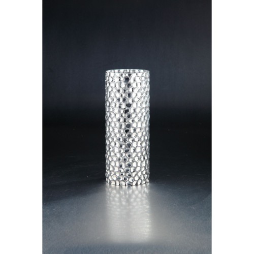 """12"""" Metallic Silver Cylindrical Glass Tabletop Vase - IMAGE 1"""