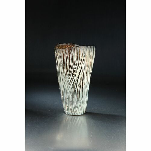 """14"""" Gray and Brown Hand Carved Lined Glass Flower Vase - IMAGE 1"""