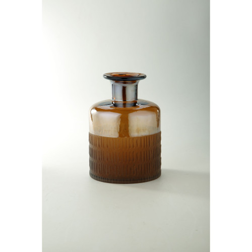 "9.5"" Brown Line Pattern Embossed Glass Bud Vase - IMAGE 1"