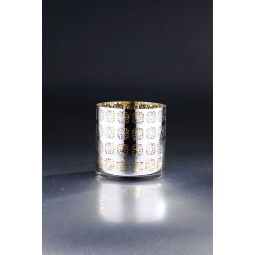"""6"""" Metallic Gold and Silver Cylinder Hurricane Glass Vase Candle Holder - IMAGE 1"""