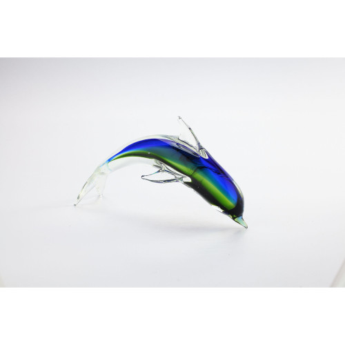 """12"""" Green and Blue Hand Blown Glass Fish Figurine - IMAGE 1"""