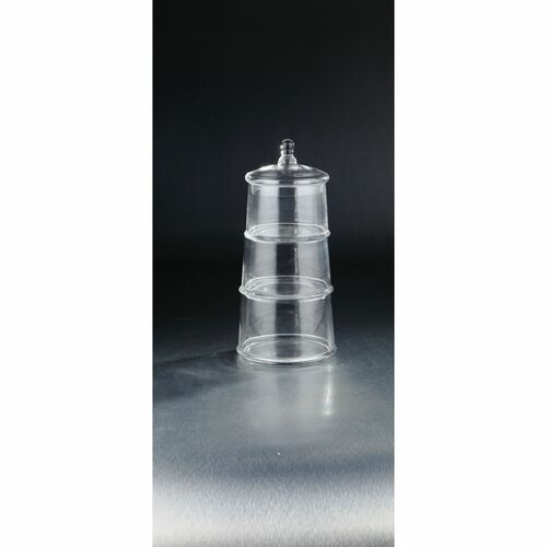 """15.5"""" Crystal Clear Hand Blown 3 Tier Glass Jar with Lid - IMAGE 1"""