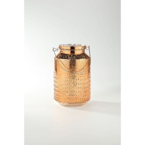 """10.5"""" Gold Cylindrical Mercury Hand Blown Glass Candle Holder - IMAGE 1"""