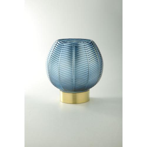 """9.5"""" Blue and Gold Leaf Pattern Glass Bowl Vase - IMAGE 1"""