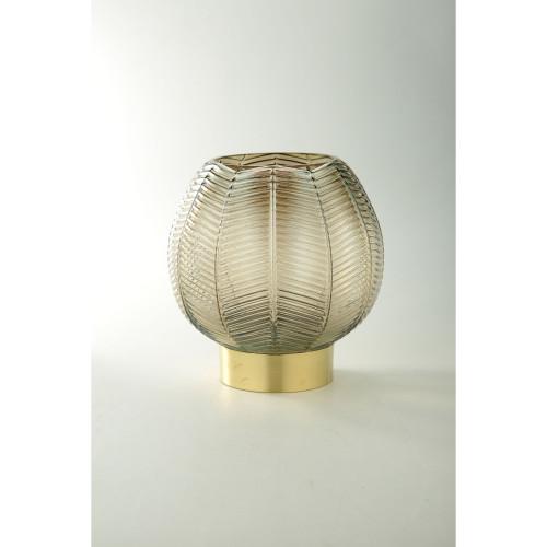 """9.5"""" Gold Leaf Pattern Glass Bowl Vase Tabletop Decor - IMAGE 1"""