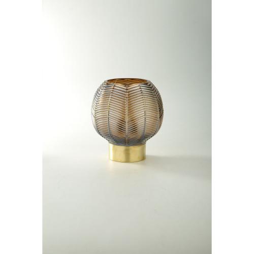 "7.5"" Brown and Gold Leaf Pattern Glass Bowl Vase - IMAGE 1"