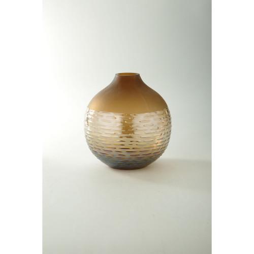 "8.5"" Brown Spherical Hand Blown Glass Flower Vase - IMAGE 1"