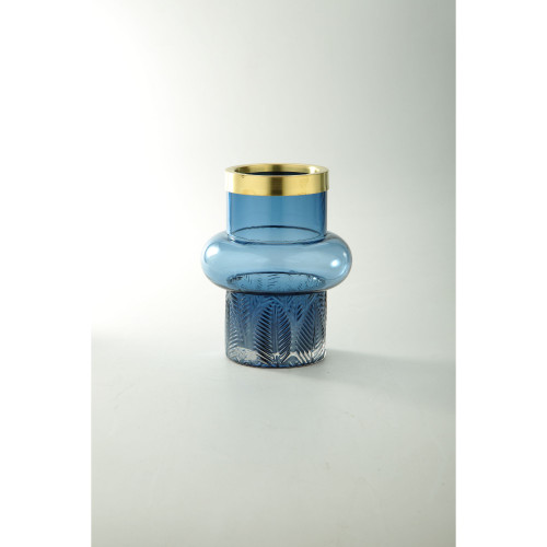 "8"" Blue and Gold Leaf Pattern Glass Vase - IMAGE 1"