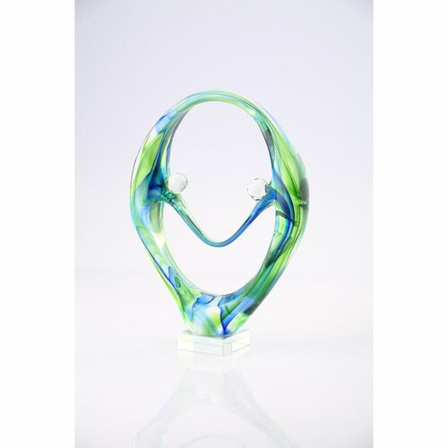 "11"" Green and Blue Hand Blown Glass Tabletop Decor - IMAGE 1"