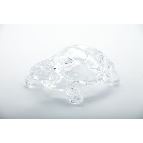 "8.5"" Crystal Clear Hand Blown Glass Turtle Figurine - IMAGE 1"
