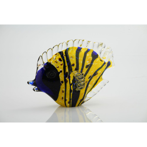 "7.5"" Blue and Yellow Glass Fish Figurine Tabletop Decor - IMAGE 1"