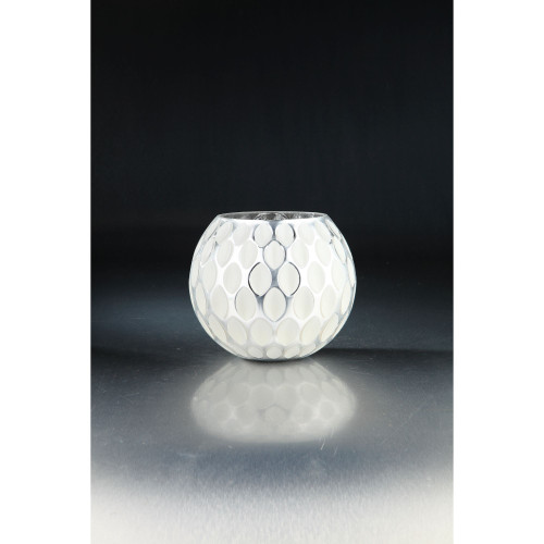 """8.5"""" White and Clear Oval Shape Pattern Glass Tabletop Decor - IMAGE 1"""