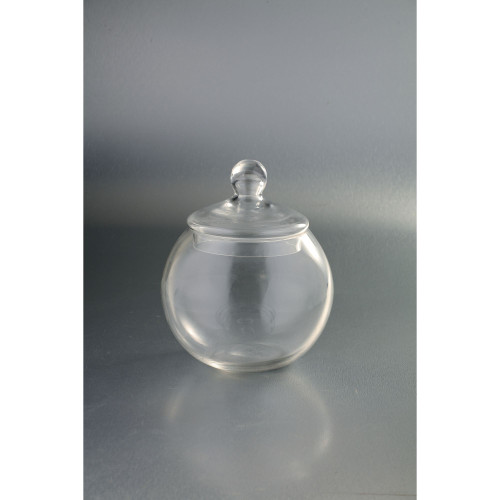 "9.5"" Clear Candy Dish Jar with Finial Lid Tabletop Decor - IMAGE 1"
