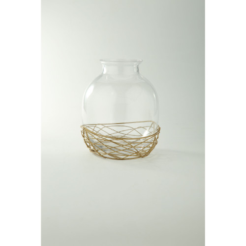"""9.5"""" Clear and Bronze Round Hand Blown Glass Vase with Wire Holder - IMAGE 1"""