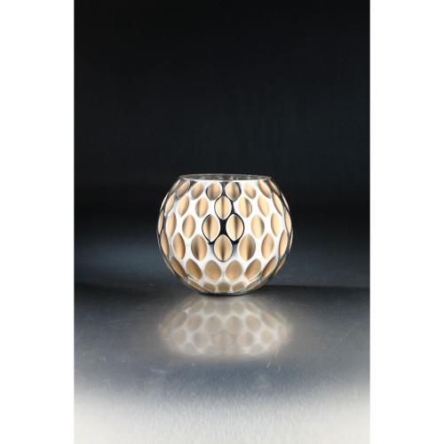 "8.5"" Gray and Gold Handblown Glass Tabletop Decor - IMAGE 1"