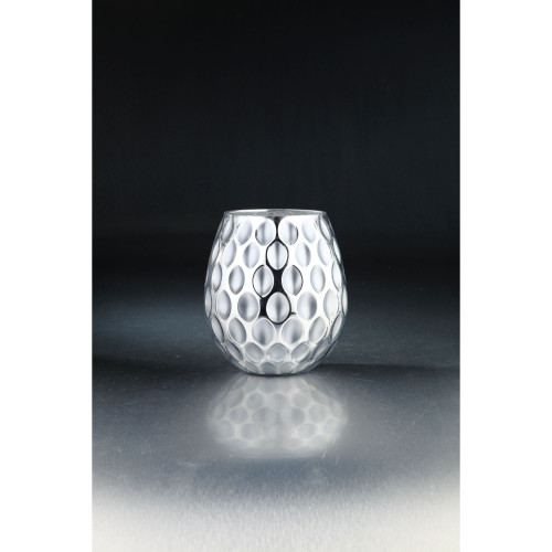 """8.5"""" Gray and Clear Oval Shape Pattern Glass Tabletop Decor - IMAGE 1"""