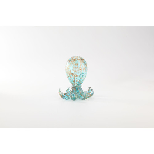 "6.5"" Aquatic Blue and Brown Glass Decorative Octopus Figurine - IMAGE 1"