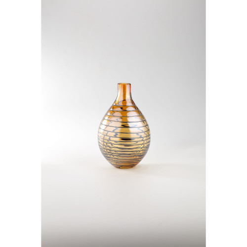 "10"" Amber Spiral Pattern Hand Blown Glass Floral Bud Vase - IMAGE 1"