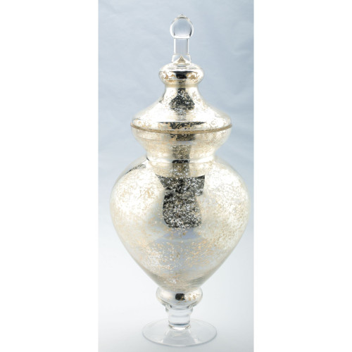 """21"""" Gold and Silver Contemporary Round Apothecary Jar with Lid - IMAGE 1"""