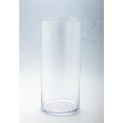 """17.5"""" Clear Solid Glass Cylindrical Flower Vase Tabletop Decor - IMAGE 1"""