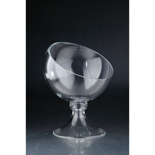"""13"""" Clear Solid Snifter Pattern Glass Vase Tabletop Decor - IMAGE 1"""