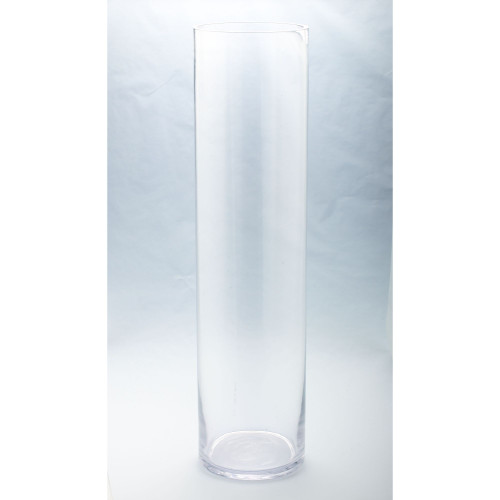 """31.5"""" Clear Solid Glass Cylindrical Flower Vase Tabletop Decor - IMAGE 1"""