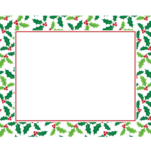 "Club Pack of 144 Green and Red Border Leaves Rectangular Table placemats 17"" - IMAGE 1"