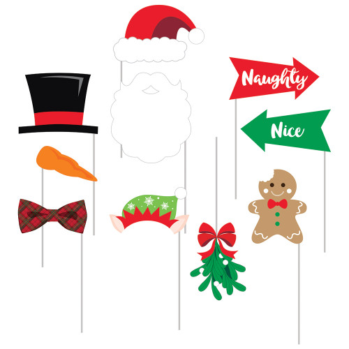 """Club Pack of 60 Green and Red Christmas Themed Photo Props 15"""" - IMAGE 1"""