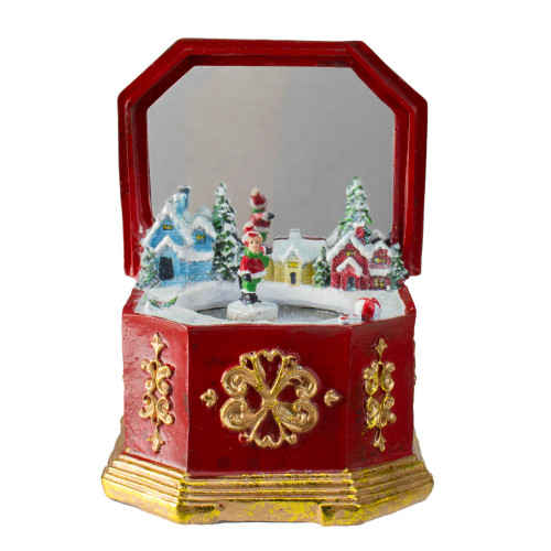 """6.5"""" Red and Gold Holiday Winter Village Music Box - IMAGE 1"""
