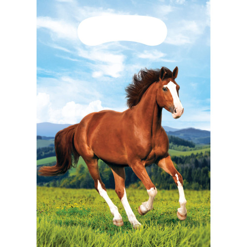 """Club Pack of 96 Brown and Green Horse Printed Favor Loot Bags 8.8"""" - IMAGE 1"""