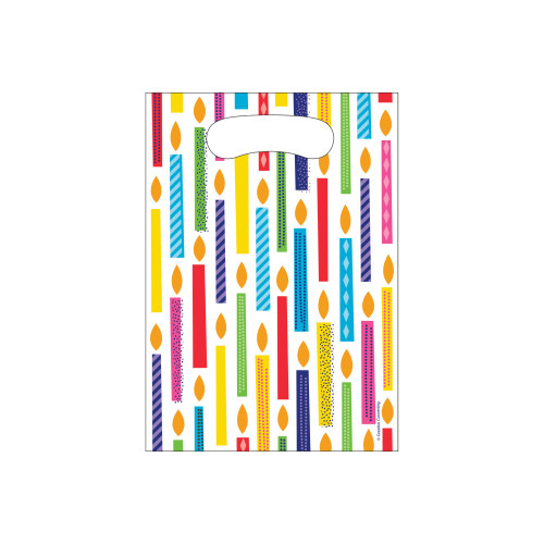 """Club Pack of 96 White and Yellow Candles Printed Favor Loot Bags 8.8"""" - IMAGE 1"""