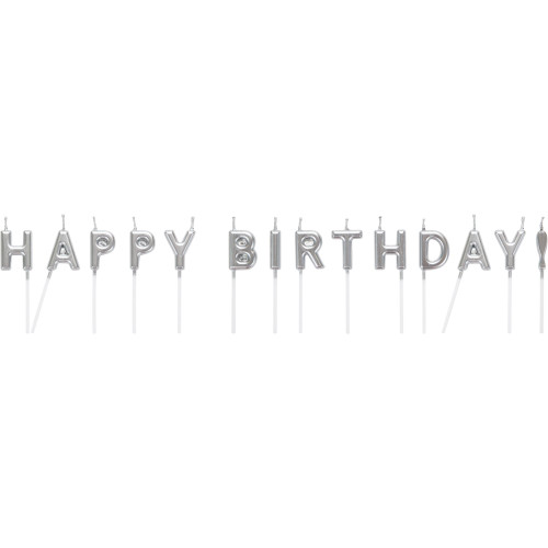 """Club Pack of 192 Silver and White Happy Birthday Themed Candles 2.5"""" - IMAGE 1"""