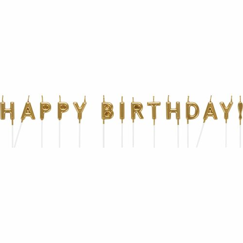 """Club Pack of 192 Gold and White Happy Birthday Themed Candles 2.5"""" - IMAGE 1"""