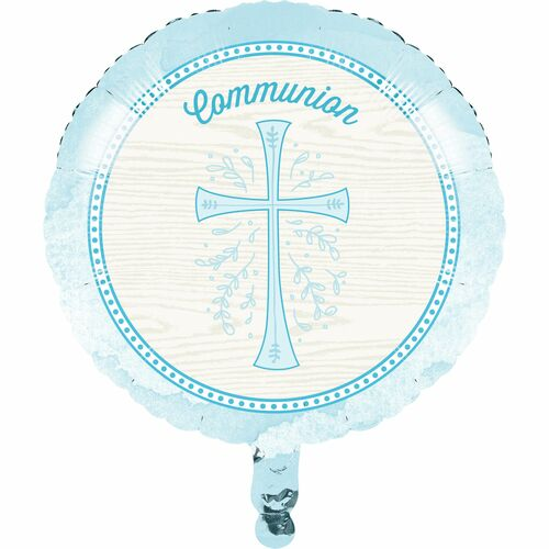 """Pack of 10 White and Sky Blue Cross """"Communion"""" Divinity Mylar Balloons 18"""" - IMAGE 1"""